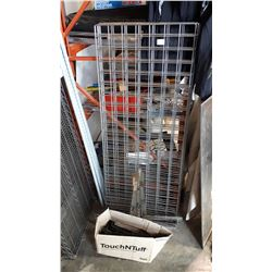 4 LENGTHS OF CAGE W/ STANDS AND DISPLAY ARMS
