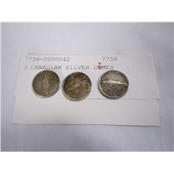 3 CANADIAN SILVER DIMES