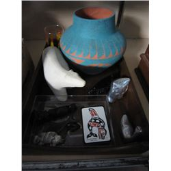 FIRST NATIONS CARVINGS AND VASE AND METAL FIGURE
