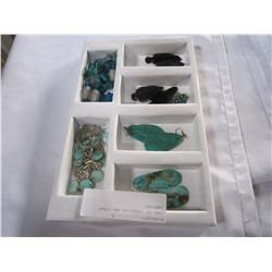 TRAY OF TURQUOISE AND OTHER JEWELERY