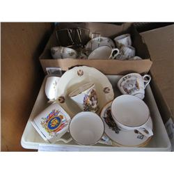 2 TRAYS ROYALTY CHINA, AND CHINA CUPS AND SAUCERS