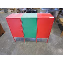 3 METAL CUPBOARDS RED AND GREEN