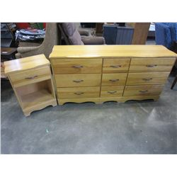 MAPLE 9 DRAWER DRESSER AND NIGHT STAND