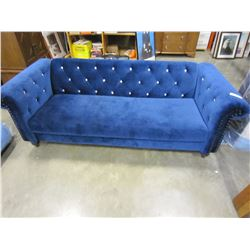 ASHLEY SIGNATURE BLUE VELVET  COUCH WITH TUFTED BACK AND NAIL HEAD ACCENTS, RETAIL $1999