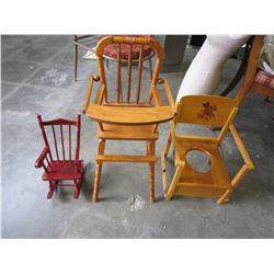 CHILDRENS WOODEN HIGH CHAIR AND SMALL ROCKER AND WOODEN POTTY SEAT