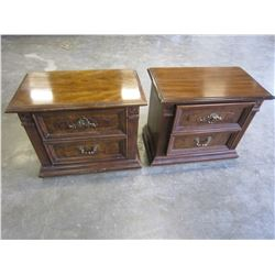 PAIR 2 DRAWER WALNUT NIGHTSTANDS BY STANLEY FURNITURE