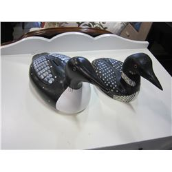 WOOD LOON AND CERAMIC LOON
