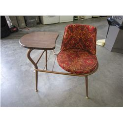 MID CENTURY PHONE TABLE W/ SWIVEL CHAIR