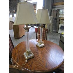 2 GLASS AND METAL TABLE LAMPS