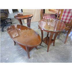 MAHOGANY 3 PCS GLASSTOP COFFEE TABLE SET