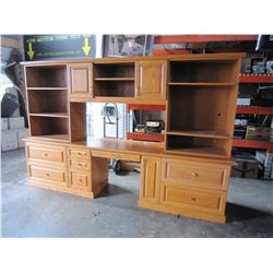 LARGE 3 PIECE OAK OFFICE CABINET