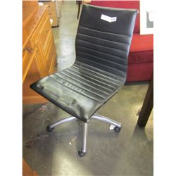 BLACK LEATHER AND CHROME MODERN GAS LIFT OFFICE CHAIR