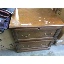 2 DRAWER DARK FINISH WOOD FILING CABINET
