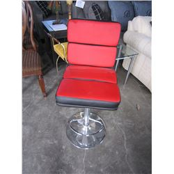MODERN RED AND BLACK GAS LIFT BARSTOOL
