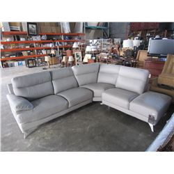 NEW GENUINE GREY STITCHED LEATHER 3 PIECE MODERN SECTIONAL SOFA, RETAIL $4198