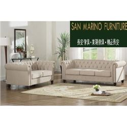BRAND NEW BEIGE MODERN TUFTED SOFA AND LOVESEAT WITH NAILHEAD ACCENT, RETAIL $2499