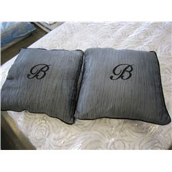 2 SILK GREY THROW PILLOWS W/EMBROIDERED LETTER B