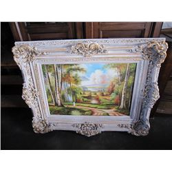 "47"" X 50"" LARGE WHITE GUILDED FRAME COUNTRY SCENE PRINT"