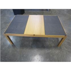 TILE TOP COFFEE TABLE W/ STORAGE AND SLIDE OUT TRAYS
