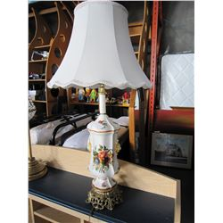 2 TABLE LAMPS CERMIC AND BRASS
