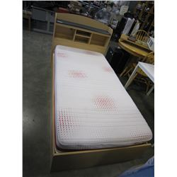 MAPLE SINGLE SIZE BED FRAME W/ STORAGE AND MATTRESS