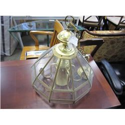 BRASS AND GLASS HANGING LAMP