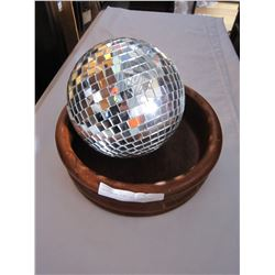 LARGE TEAK BOWL AND DISCO BALL