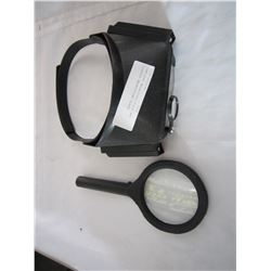 JEWELERS MAGNIFIED VISOR AND LIGHTED MAGNIFYING GLASS
