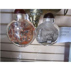 2 REVERSE PAINTED SNUFF BOTTLES