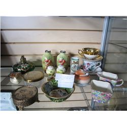 LOT OF CHINA CUPS AND SAUCERS, NOTRITAKE SUGAR BOWL, AND VARIOUS VASES AND 3 LIDDED CONTAINERS AND B
