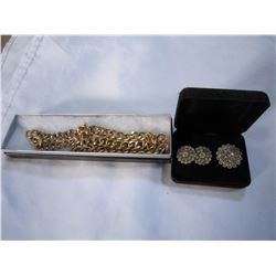 RHINESTONE BROACH, EARRINGS, AND GOLD TONE NECKLACE