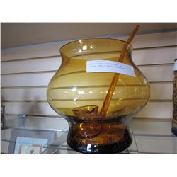 AMBER GLASS PUNCH BOWL W/ LADLE