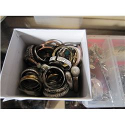 CASE OF ESTATE PENDANTS AND SMALL BOX OF RINGS