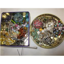TWO TRAYS OF RHINESTONE AND BEADED JEWELRY