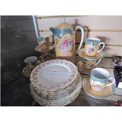 CHINA TEA POT, CUPS AND SAUCERS, AND LIMOGE PLATES