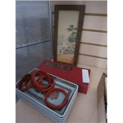 BANGLES, EASTERN MINI DIVIDER, DISHES, AND FRAMED PICTURE