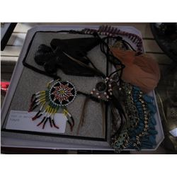TRAY OF NATIVE JEWELLRY AND PLAQUE