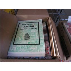 1 BOX OF STAMP ALBUMS W/ SOME STAMPS INSIDE