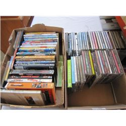 2 BOXES OF CDS AND DVDS