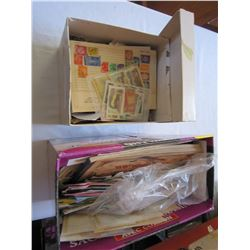 2 BOXES OF COLLECTIBLE STAMPS ON AND OFF PAPER