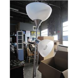 METAL SILVER FLOOR LAMP WITH BENDABLE READING LAMP