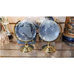 2 REVOLVING SOLID WORLD GLASS GLOBES ON STANDS
