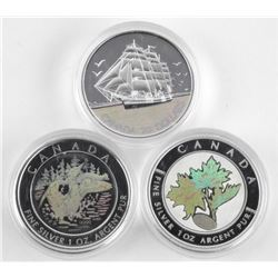 Lot (3) .9999 Fine Silver Coins - Hologram 1oz eac