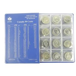 Lot (48) Canada 50 Cent Coins - Uni Safe Album