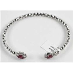 925 Sterling Silver Custom Bangle with Oval Rubies