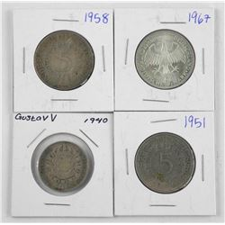 Lot (4) Silver World Coins