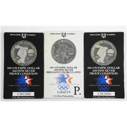 Lot (3) .900 Fine Silver Olympic Dollars Proof 1983