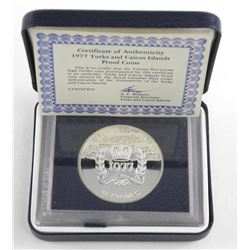 1977 Turks and Caicos Islands Proof Silver Dollar Coin