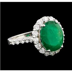 4.76 ctw Emerald and Diamond Ring - 14KT White Gold