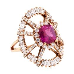 3.52 ctw Purple Sapphire And Diamond Ring - 14KT Rose Gold